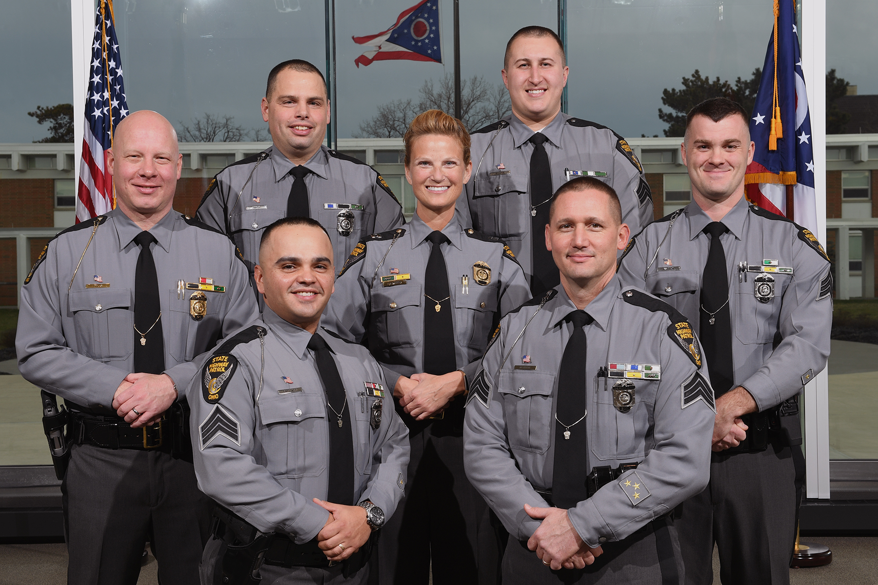 c11a51f4eb3 Please join us in congratulating the newly promoted members of the Ohio  State Highway Patrol. Front row (L-R): Sergeant Juan 'Ray' Santiago,  Sergeant Shane ...